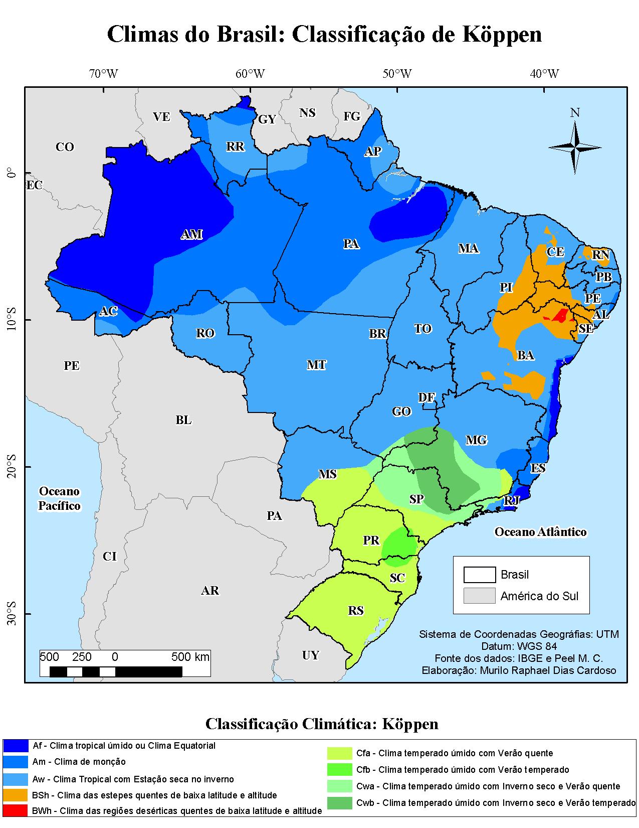 Mapas Da Classificacao Climatica De Koppen Do Mundo E Do Brasil